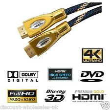 """24K HDMI PRO Cable """"ALL SIZES"""" PREMIUM HD High Speed Ethernet Gold 1080p"""