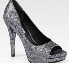 VERA WANG SELIMA GLITTER OPEN TOE PLATFORM HEELS SHOES $275.00 10