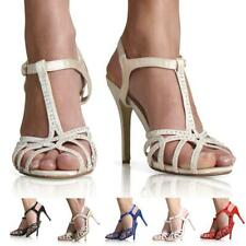 NEW WOMEN LADIES DIAMANTE BRIDAL ANKLE STRAP WEDDING PROM PARTY SHOES SIZE 3-8