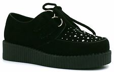 KIDS GIRLS FLAT FUNKY LACE UP STUD PLATFORM WEDGE GOTH BROTHEL CREEPERS SHOES