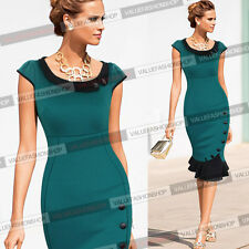 Womens Vintage Colorblock Cocktail Party Evening Bodycon Mermaid Midi Dress 721