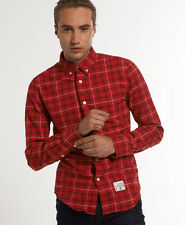 New Mens Superdry Oxford Check Shirt Edinburgh Check Red