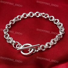 Lots Wholesale Toggle Clasp Silver Charm Rolo Bracelets Double Long Link Chain