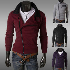 Men New Autumn Winter More Zippers Collar Sweater Slim Brushed Cardigan 4 Colors