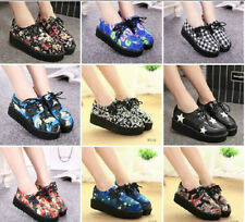 2015 women's shoes lace up flower print creepers platform women flats shoes free