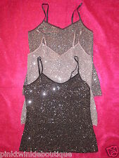 Nwt Express Sequin Bling Camisole Blouse Tank Club Top Dressy SEXY SPARKLE Hot!