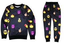 Men/women fashion black cartoon emoji suits sweatshirts + pants tracksuits