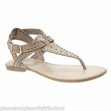 NEW A. Giannetti Leather Perforated Studded Thong Sandals - Made in Italy
