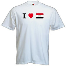 NEW Printed T-SHIRT Quality I LOVE IRAQ Small Flag, All Sizes, All Colours