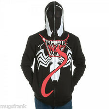 Venom Tongue Out Leggs Spiderman Costume Zip up Eye Holes Hoodie Jacket Shirt