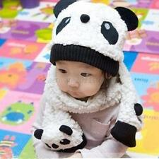 Baby Kids Winter Warmer Cartoon Panda Scarf+Beanie Hat Cap Neckerchief Set A31