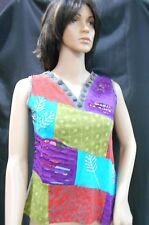 Rising International NEPAL HIPPIE Cotton Multi-Color PATCHWORK SLEEVELESS Shirt