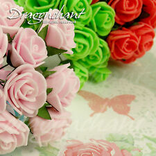 Bunch of 12 Foam Rose Buds Wired Stem Small Artificial Flower Stamen Bouquet