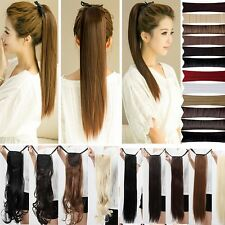 fashion long binding clip in ponytail Extensions Synthetic hair dark black wm