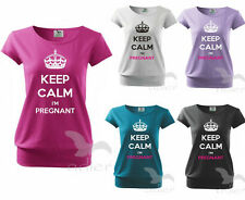 Maternity Pregnancy T-shirt Top Funny KEEP CALM I`M PREGNANT baby shower gift