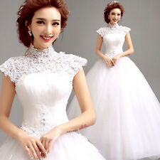 A-line Lace Up Off-Shoulder White Wedding Dress Bridal Gown Lace Flowers CO152