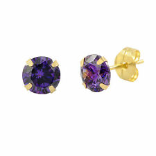 14k Yellow Gold Purple Amethyst Cubic Zirconia Stud Earrings Round Birthstone CZ