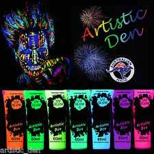 UV Glow Neon Face Body Paint 1X 60ml Black light Fluoro Party Glow Artistic Den