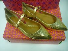 NEW!!~ BERNADETTE TORY BURCH GOLDEN  LEATHER FLAT! (RTL $275)