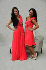CORAL 1 SHOULDER  RUFFLE CHIFFON BRIDESMAID DRESS PROM EVENING LONG SHORT PASTEL