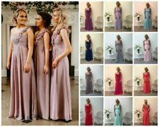 1 SHOULDER CHIFFON BRIDESMAID DRESS PROM EVENING LONG & SHORT KIDS & ADULT
