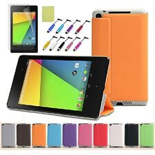 For 2013 2nd Google Nexus 7 FHD Slim Magnetic Smart Leather Case + Film + Stylus