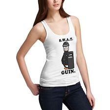 Womens Cotton Novelty Design Police Theme SWAT Guin Tank Top