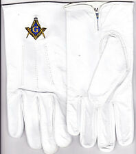 Masonic Freemasons Leather Embroidered Gloves