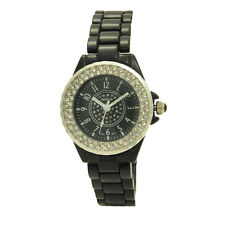 Geneva Turn Gem Bezel Casual Small Skinny Women Watch Black White Gold Silver