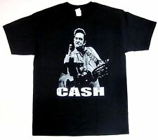 JOHNNY CASH T-shirt Man In Black Flippin Bird Finger Rock Tee Adult S-3XL New