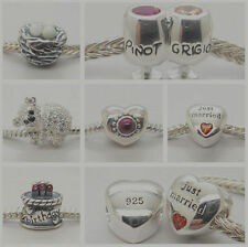 Birthday cake koala Bear Just married love heart 925 sterling silver charm beads