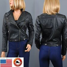 Women Faux Leather PU Jacket Long Sleeve Biker Motorcycle Coat Jacket  S M L