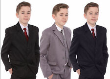 Boys Suit Age 1-15 Years Black or Grey Formal 5 Piece Suit Wedding Funeral Party