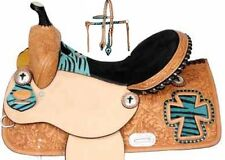 Teal Zebra-Cross Barrel Saddle Package 13-14-15-16 inch-Tack-Free Shipping-nr
