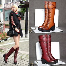 Womens Punk High Block Heel Brogue Vintage Knee High 100% Leather Riding Boots