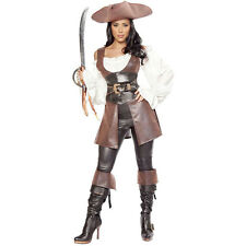 Sexy Ladies Brown Leather Pirate Fancy Dress Costume Womans Outfit Halloween New