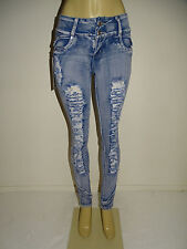 Diamante Push up Ripped Butt Lift Levanta Cola Colombian Skinny Light Blue Jeans