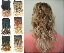Straight Curly Wavy One Piece Clip in on Ombre Hair Extensions Hairpieces 22""