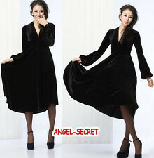 J321 women retro deep V collar flounce bottom velvet long-sleeves dress Gothic N