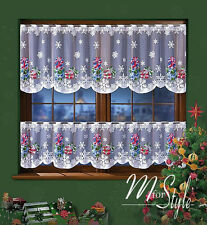 "Cafe Net Curtain Christmas Pattern 19.5"" and 27.5"" Drop SOLD BY THE METRE"
