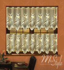 """Lace Beige Cafe Net Curtain Owls 24"""" and 30.5"""" Drop Sold by the metre Ready made"""