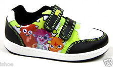 KIDS BOYS MOSHI MONSTERS BLACK WHITE LEATHER LOOK VELCRO PUMPS TRAINERS SIZE 8-2