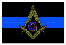 Thin Blue Line Masonic Square & Compass Police Sheriff Blue Lodge Decal Sticker