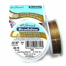 """30ft Beadalon 49 Strand Bead Stringing Wire .015"""" (0.38mm) Satin Gold or Silver"""