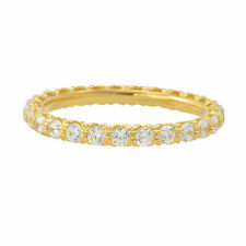 Sterling Silver Cubic Zirconia Ring Stackable Yellow Gold Plated - 2.5mm Wide