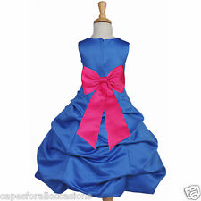 NEW ROYAL BLUE PAGEANT FLOWER GIRL DRESS TIEBOW SASH TODDLER BRIDESMAID HOLIDAYS