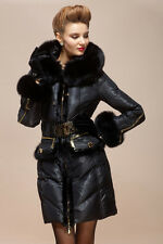 Designer Fitted Duck Down Coat Jacket with Fox Fur Collar UK Size 8 10 14 16