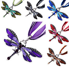 Lady Dragonfly Charms Necklace Chain Retro Rhinestone Inlay Gem tone Pendant