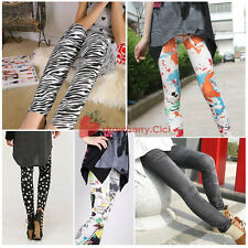 Multi Pattern Women's Stretchy Leggings Tights Pants Jeans Printing Stars Zebra
