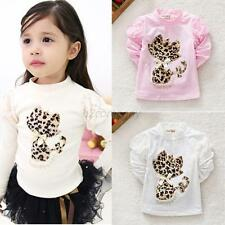 Kids Girls Long Sleeve T-shirts Leopard Cat Pattern Blouse Tops Clothes 0-3Y B75